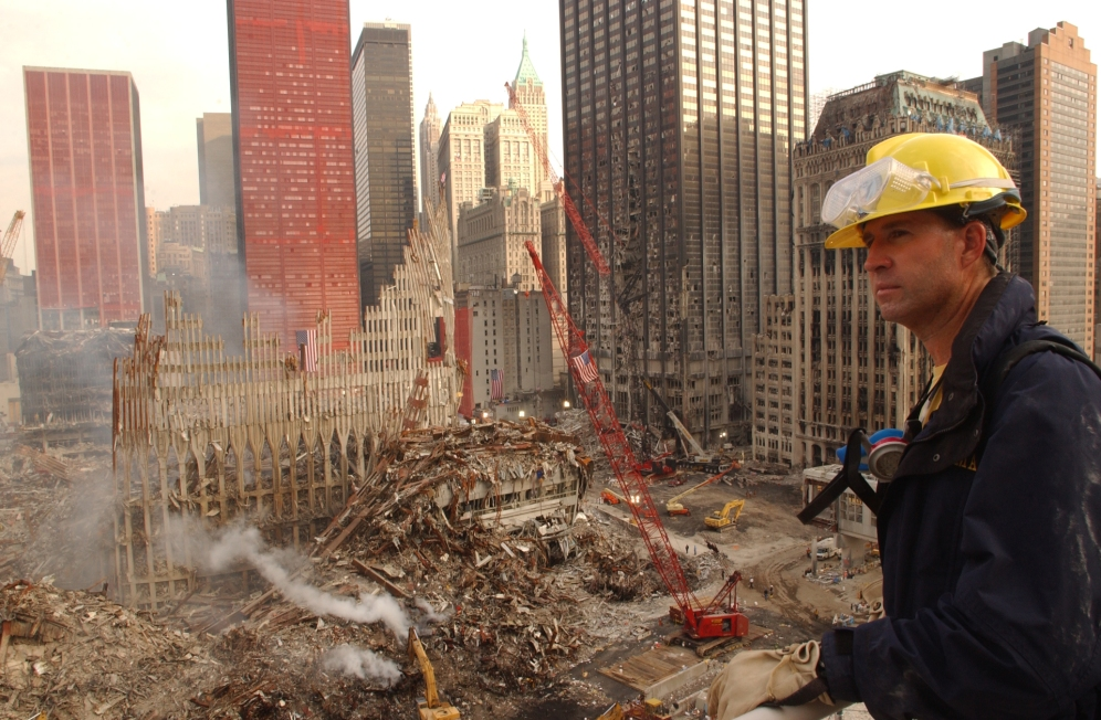World Trade Center, New York 9-23-2001 FEMA worker views the wreckage of the World Trade Center. Andrea Booher/FEMA News Photo Mandatory byline/ No payment