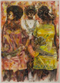 Jeff Donaldson (American, 1932â??2004). Wives of Shango, 1969. Watercolor with mixed media on paper, 30 x 22 in. (76.2 x 55.9 cm). Brooklyn Museum, Gift of R. M. Atwater, Anna Wolfrom Dove, Alice Fiebiger, Joseph Fiebiger, Belle Campbell Harriss, and Emma L. Hyde, by exchange; Designated Purchase Fund, Mary Smith Dorward Fund, Dick S. Ramsay Fund, and Carll H. de Silver Fund, 2012.80.13. © Jameela K. Donaldson